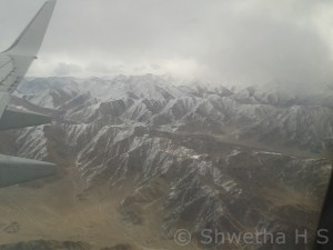 Snow covered mountain ranges of Ladakh