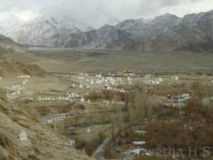 View of the surrounding village from the top of Shey Palace